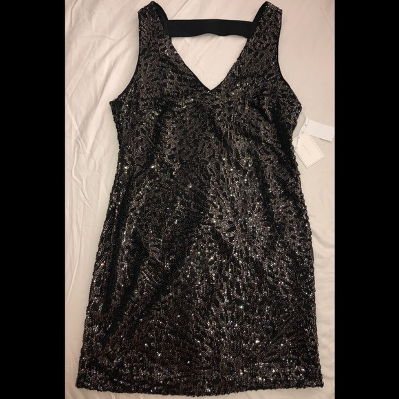 1. State Dresses & Skirts - Black and gold sequin mini dress